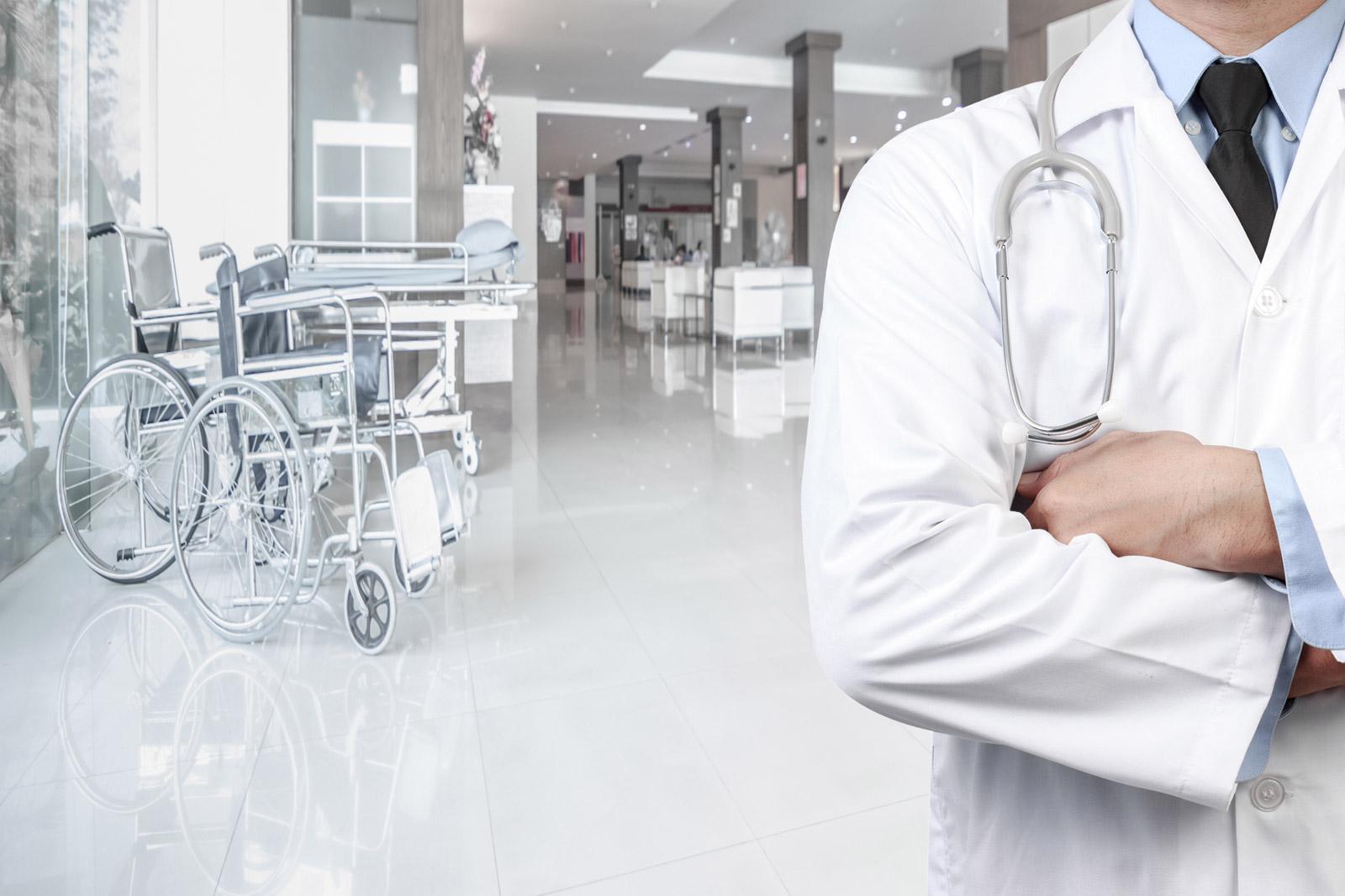 A doctor in a hospital corridor
